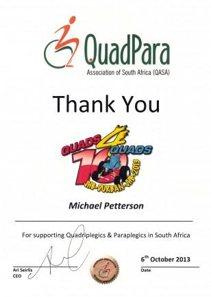 Thank You Certificate QuadPara