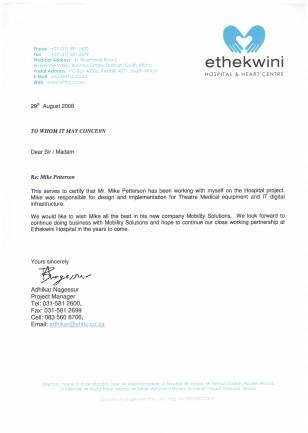 Testimonial Ethekwini Hospital