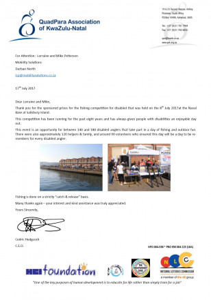 QAK Fishing Competition Thank You Letter